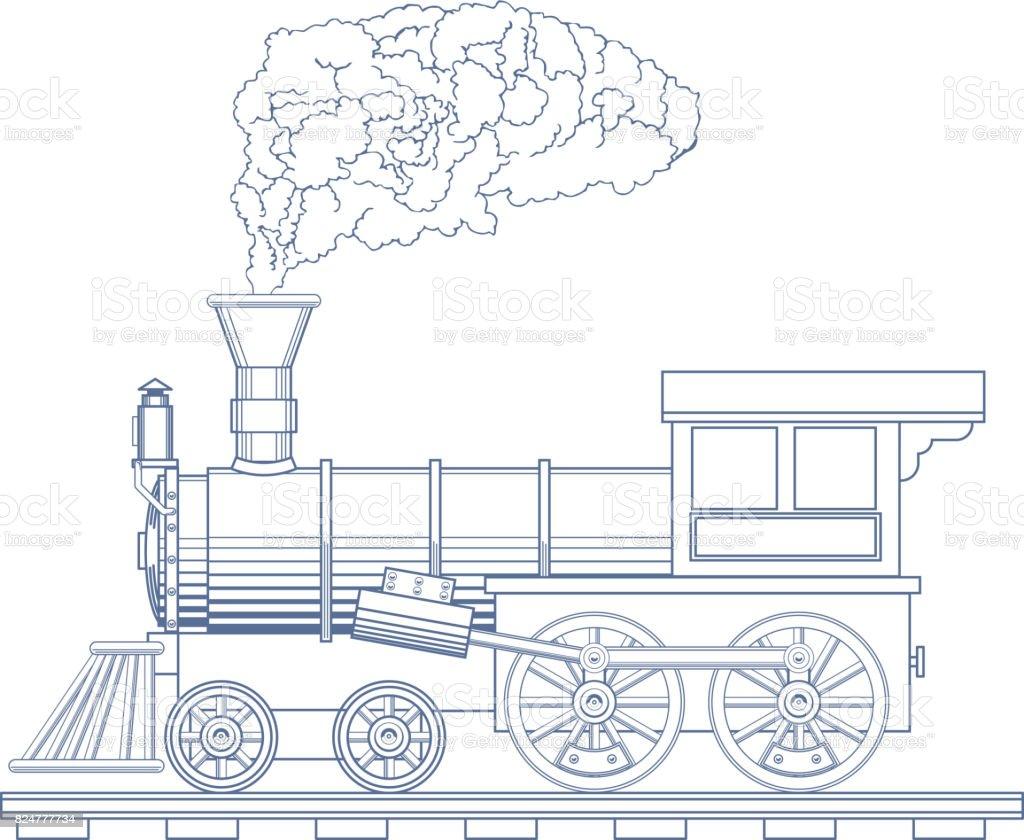 Vintage Steam Locomotive Vector Icon Design Template Train
