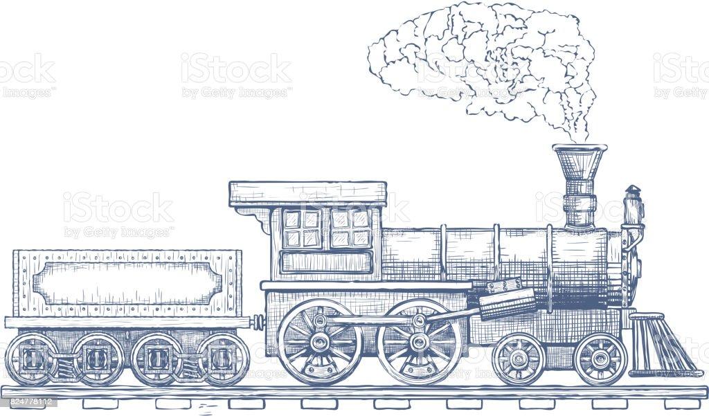 Vintage Steam Locomotive Vector Icon Design Template Train ...