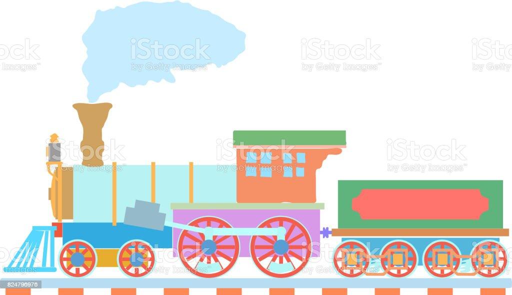 Ilustración de Vintage Vapor Locomotora Vector Icono Plantilla De ...