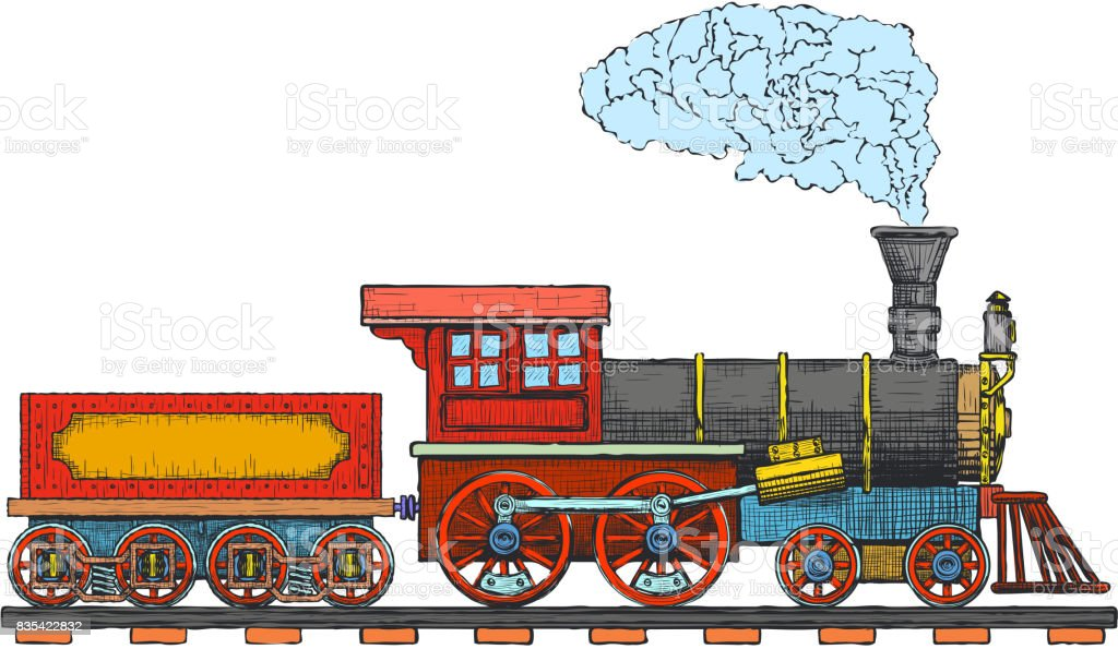 Vintage Steam Locomotive Vector Icon Design Template