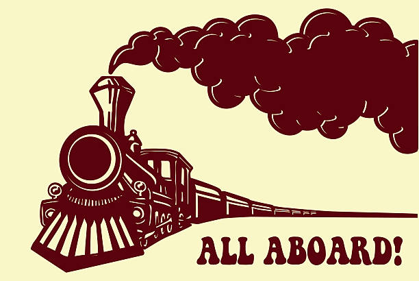 Vintage steam train locomotive with smoke vector. All Aboard! All aboard! Vintage steam train locomotive with smoke puff isolated vector illustration, puffer railway traveling aboard stock illustrations