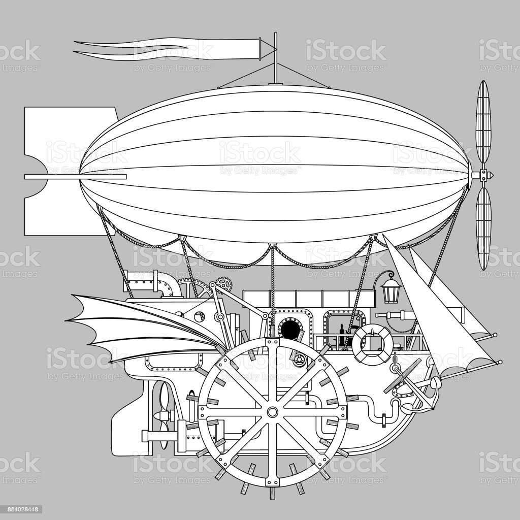 Vintage Steampunk template with a complex fantastic flying ship vector art illustration
