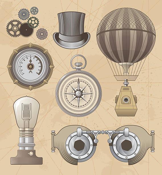 vintage steampunk vektor-design-set - steampunk stock-grafiken, -clipart, -cartoons und -symbole