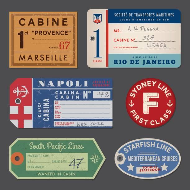 Vintage Dampfschiff Gepäck Etiketten und tags – Vektorgrafik