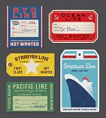 Vintage Steamship luggage Labels and tags - Illustration