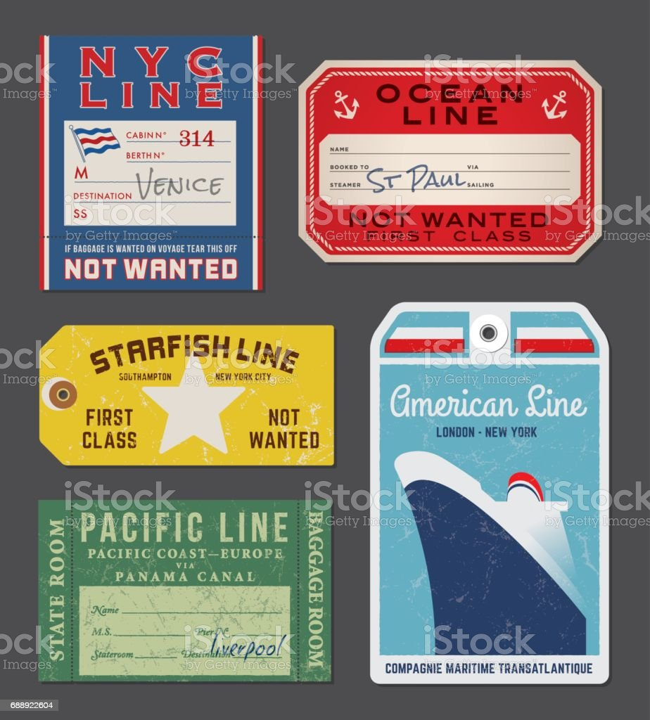 Vintage Steamship luggage Labels and tags vector art illustration