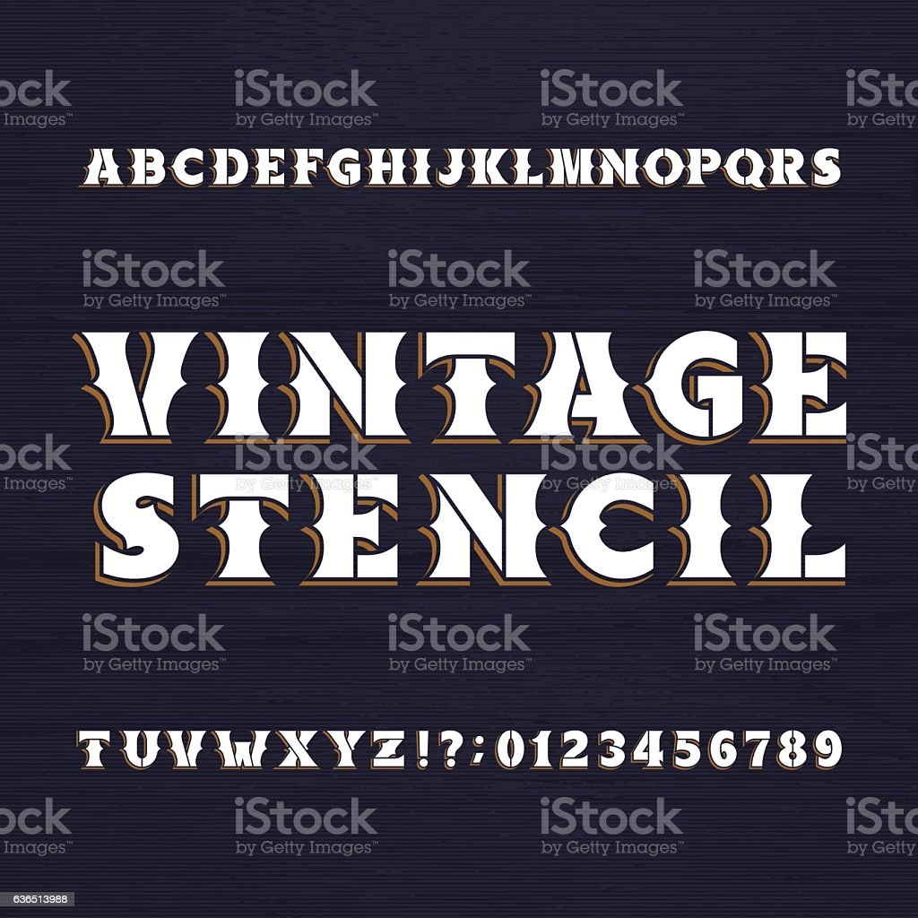 Vintage stencil typeface vector art illustration