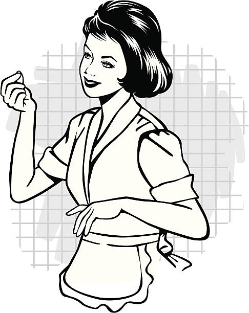 vintage typische hausfrau - hausfrau stock-grafiken, -clipart, -cartoons und -symbole