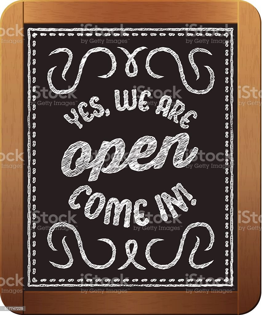 Vintage store sign 'Yes, we are open come in' vector art illustration