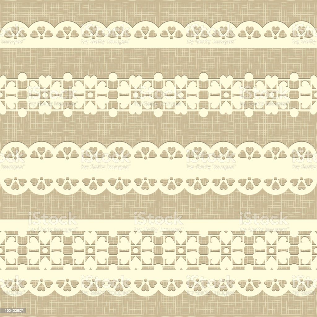 Vintage straight lace on linen canvas background. royalty-free stock vector art