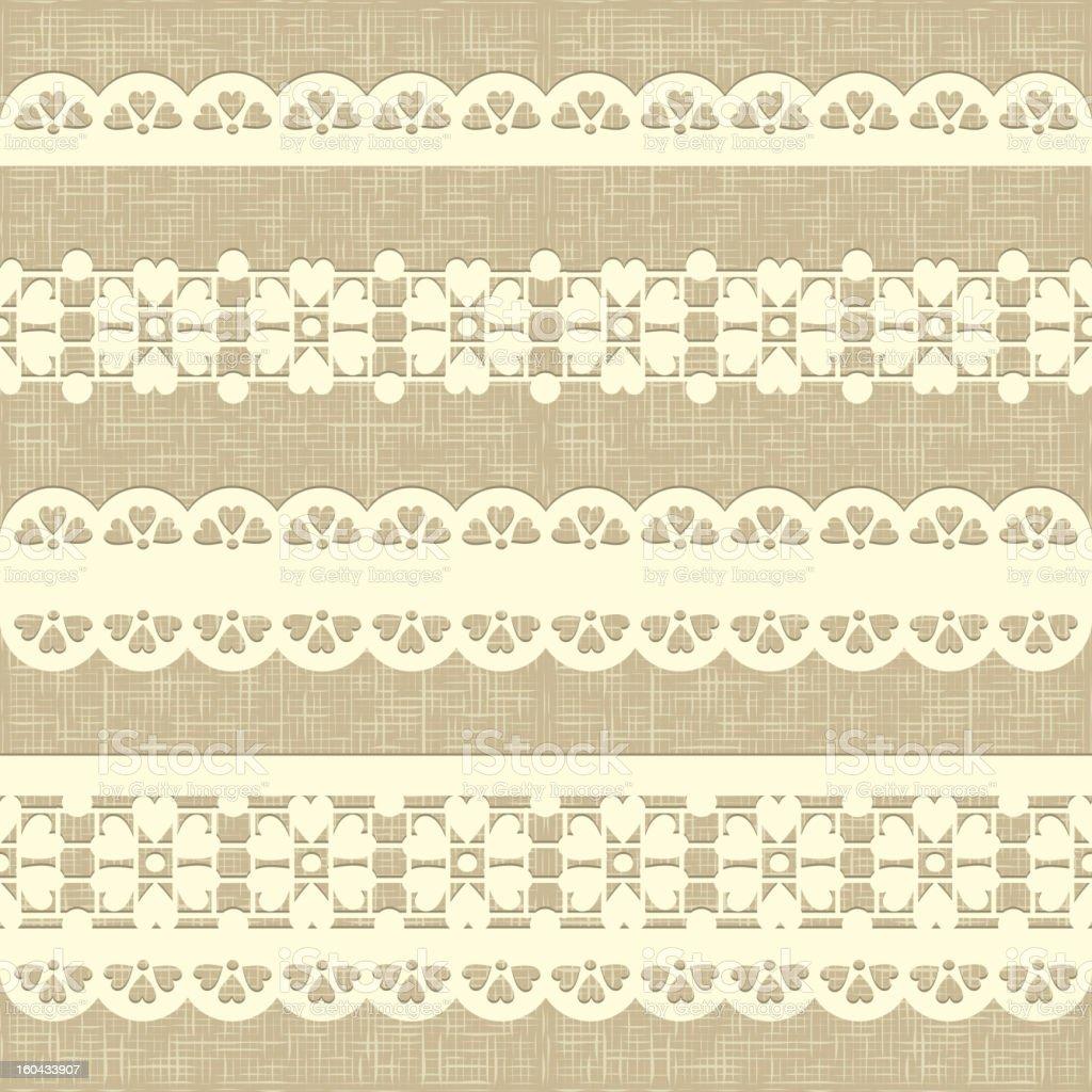 Vintage straight lace on linen canvas background. vector art illustration