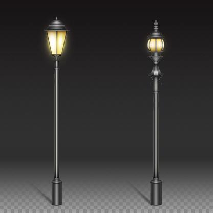 Vintage street lamps, black iron lantern on post