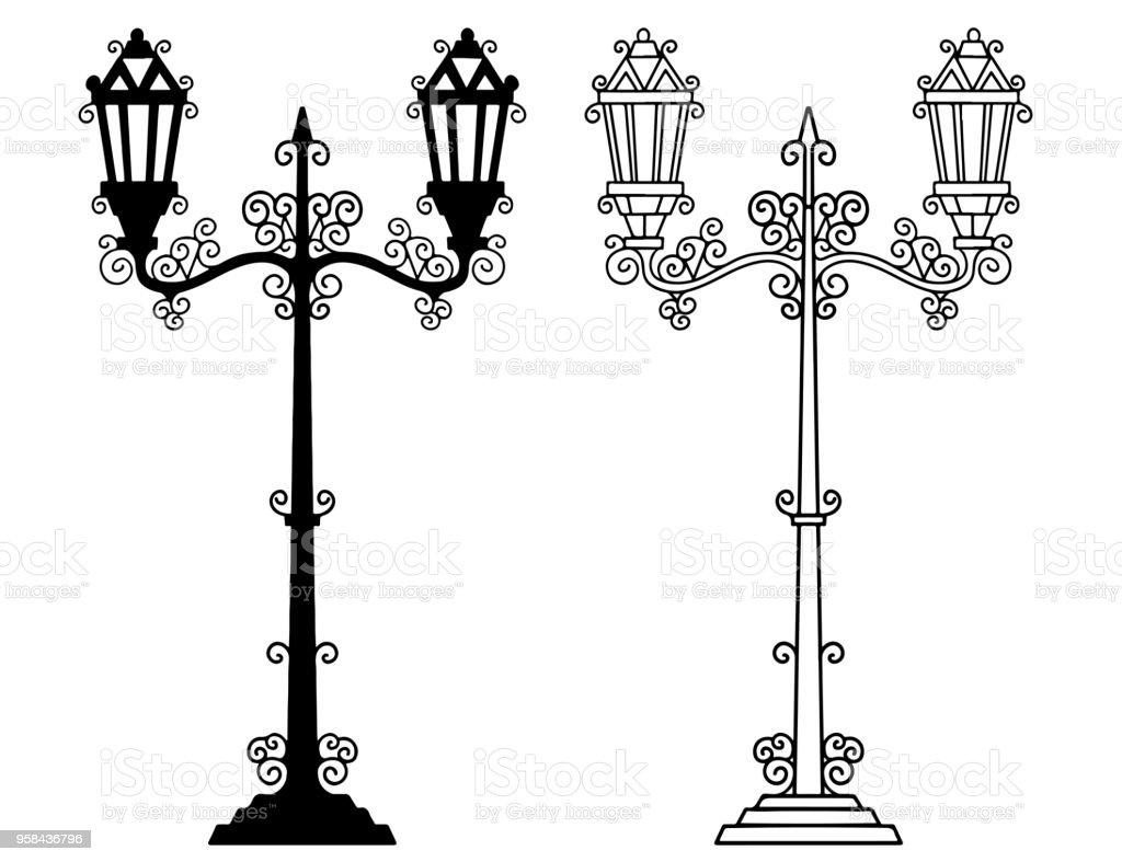 vintage street light lamps stock vector art more images of 1920