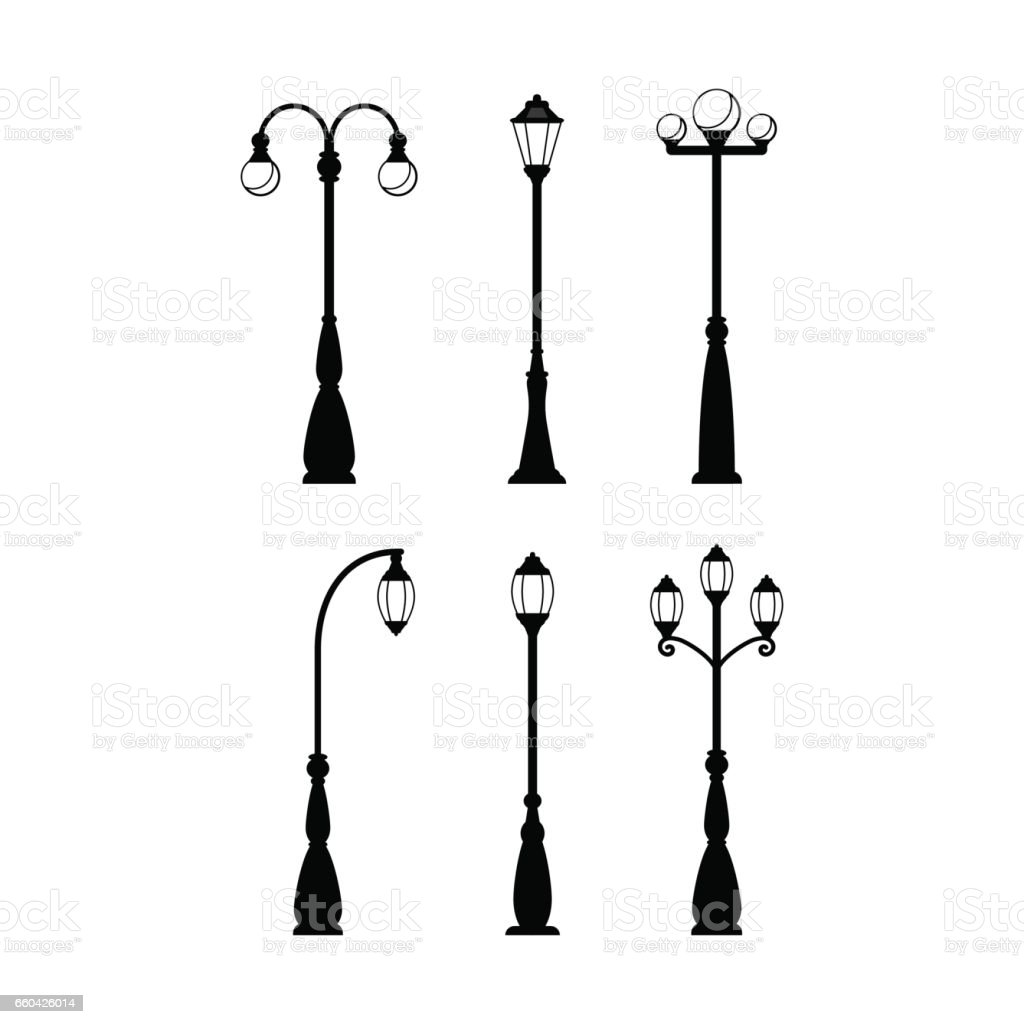 Vintage streetlights black silhouettes set vector art illustration