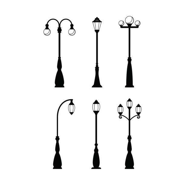 stockillustraties, clipart, cartoons en iconen met vintage straatverlichting zwarte silhouetten set - straatlamp