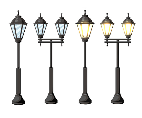 Vintage streetlights. Vector retro street lamp lights isolated on white background Web site page and mobile app design