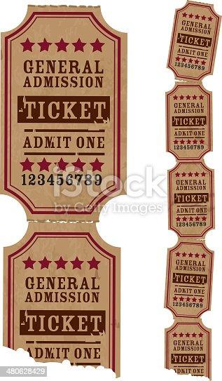 Vintage strip of tickets