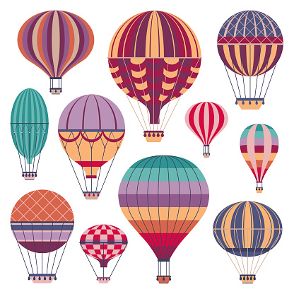 Hot air balloons colorful set. Vintage striped gas balloon icons in flat design.