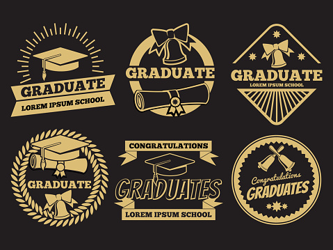 Vintage student graduate vector badges. Graduation label set