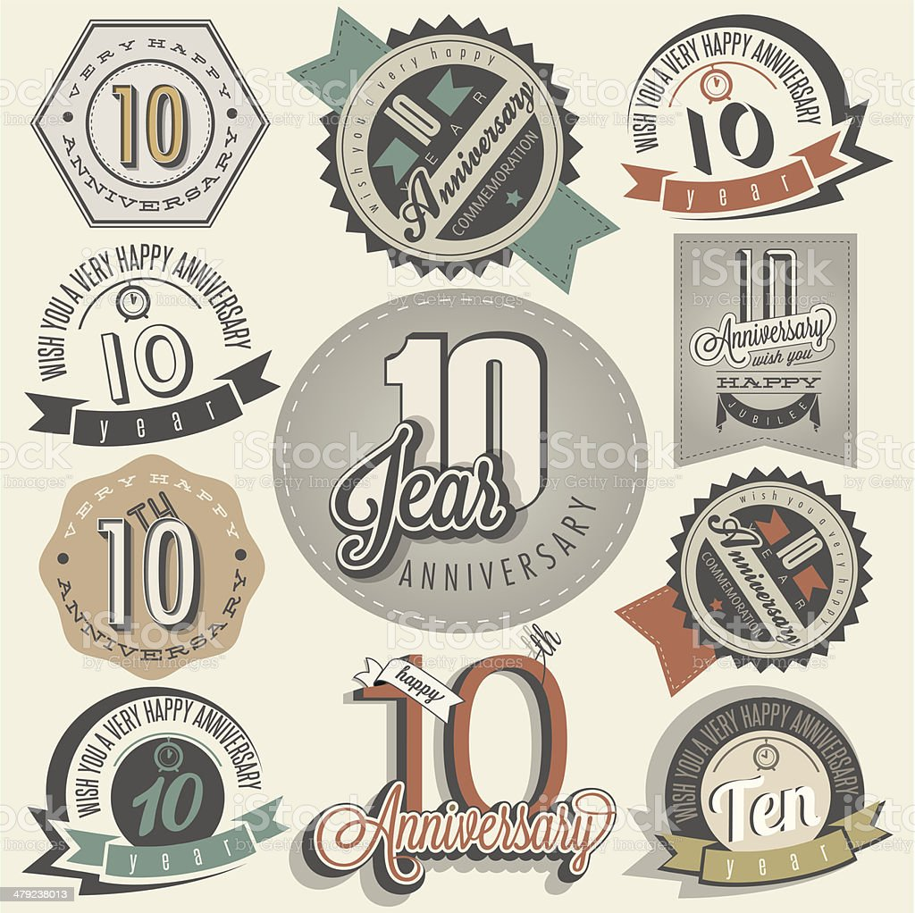 Vintage style 10 anniversary collection vector art illustration