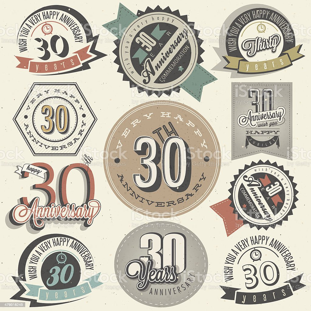 Vintage style 30 anniversary collection vector art illustration