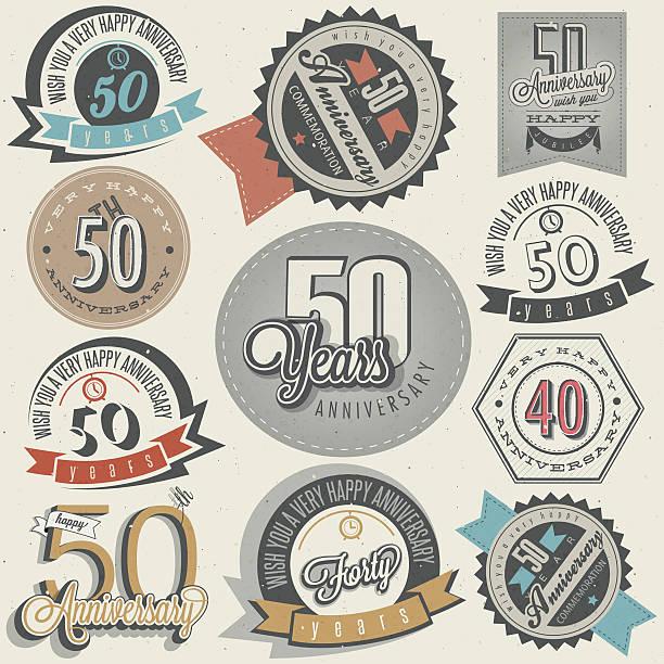 Estilo Vintage 50° aniversário collection - ilustração de arte em vetor
