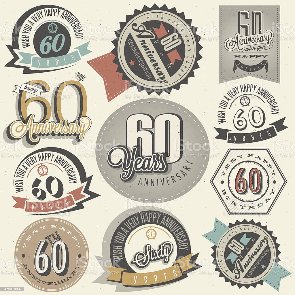 Vintage style 60th anniversary collection royalty-free stock vector art