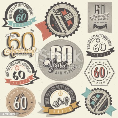 Sixty anniversary design in retro style. Vintage labels for anniversary greeting. Hand lettering style typographic and calligraphic anniversary symbols