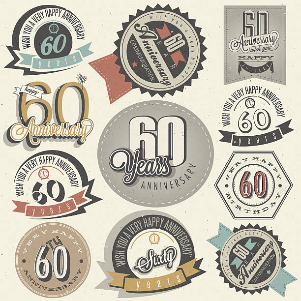 Vintage style 60th anniversary collection vector art illustration