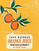 Fun Orange Juice Poster, drawn in the fun cartoon style of the 1950s and 1960s. Designed to look like old illustrated cookbooks or advertising art.