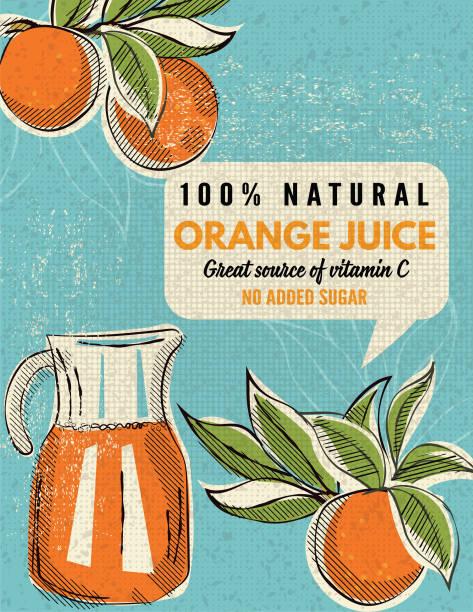 Vintage Style Advertising Oranges Poster vector art illustration
