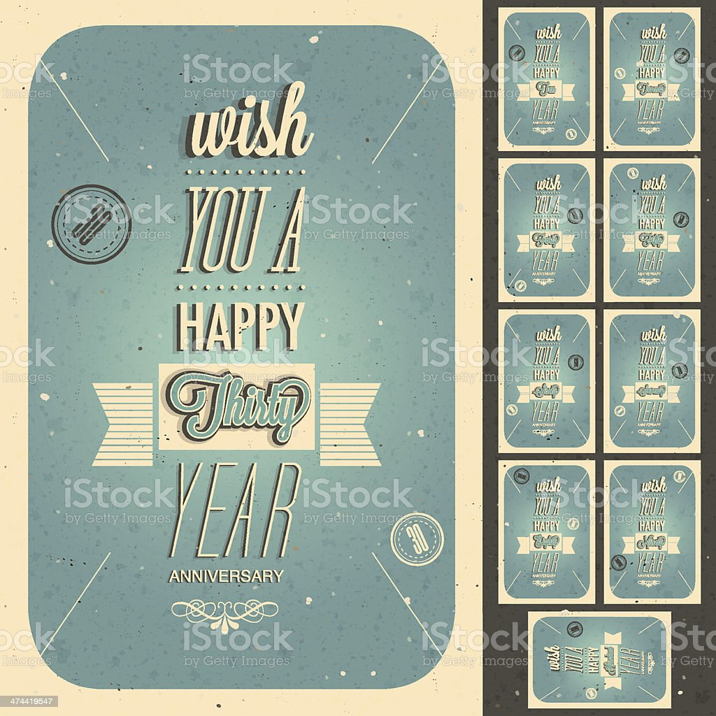Vintage style anniversary design collection. royalty-free stock vector art
