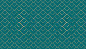 Vintage style art deco geometric pattern with overlapping golden squares on turquoise background. Retro geometric abstract line vector seamless pattern.