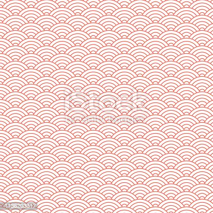 Vintage style Art Deco Seamless Fan Pattern in living coral color/retro texture vector pattern. Elegant pattern with traditional Japanese circles for fashion, interior design.