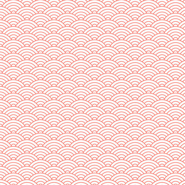Vintage style Art Deco Seamless Fan Pattern in living coral color/retro texture vector pattern. Elegant pattern with traditional Japanese circles for fashion, interior design. Vintage style Art Deco Seamless Fan Pattern in living coral color/retro texture vector pattern. Elegant pattern with traditional Japanese circles for fashion, interior design. japanese culture stock illustrations