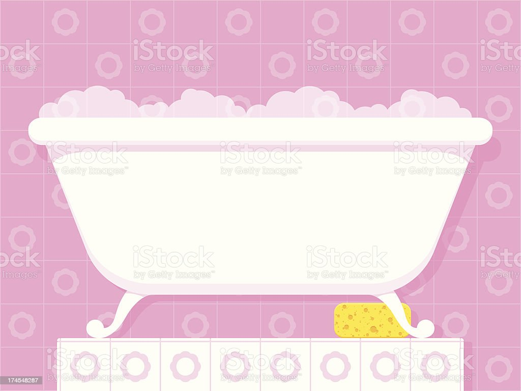 Vintage style bathtub with soapy bubbles vector art illustration