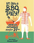 Vintage Style BBQ Party Invitation Template, drawn in the fun cartoon style of the 1950s and 1960s. Designed to look like old illustrated cookbooks or advertising art.