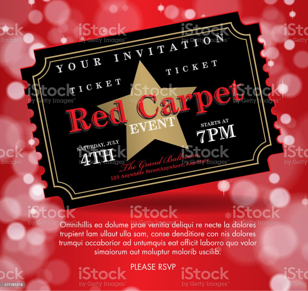 Vintage Style Black On Red Carpet Event Ticket Invitation