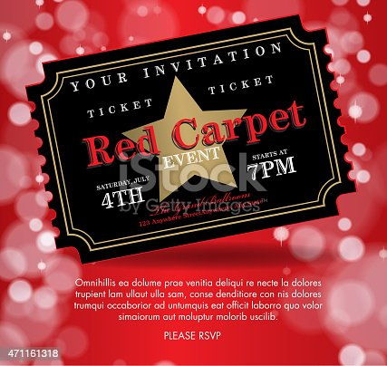 istock Vintage style Black on red Carpet Event ticket invitation template 471161318