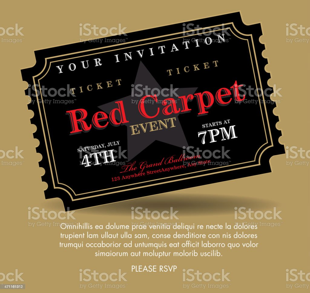 Vintage style black simple carpet event ticket invitation template vintage style black simple carpet event ticket invitation template royalty free vintage style black simple stopboris Images