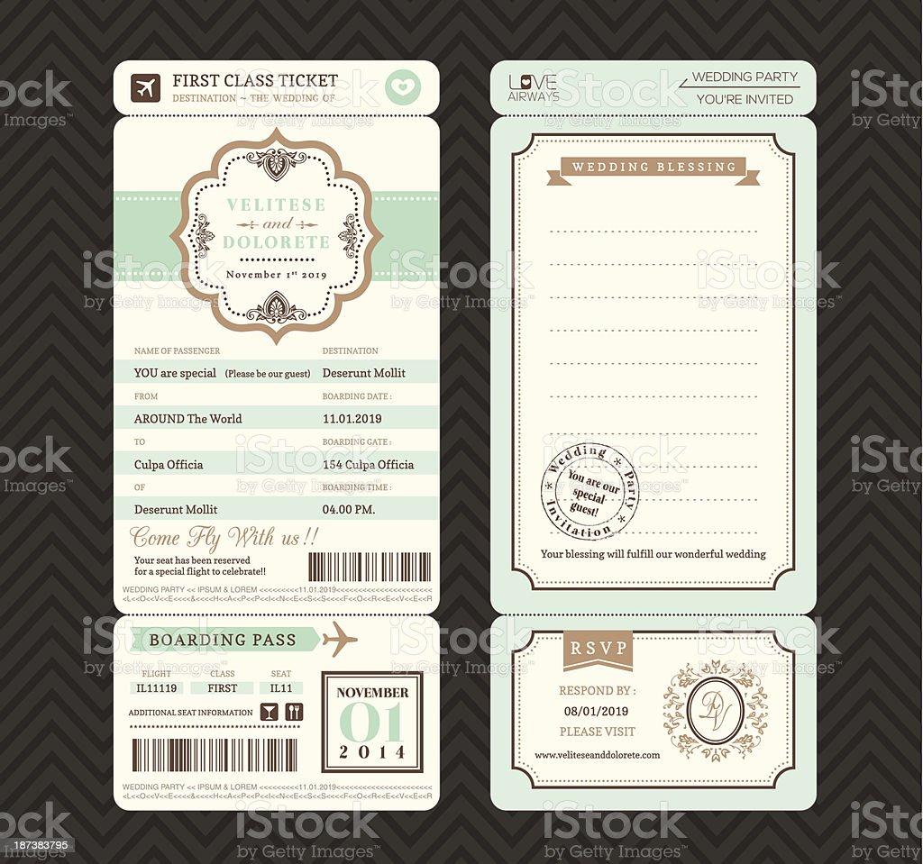 Vintage style Boarding Pass Ticket Wedding Invitation Template Vector vektorkonstillustration