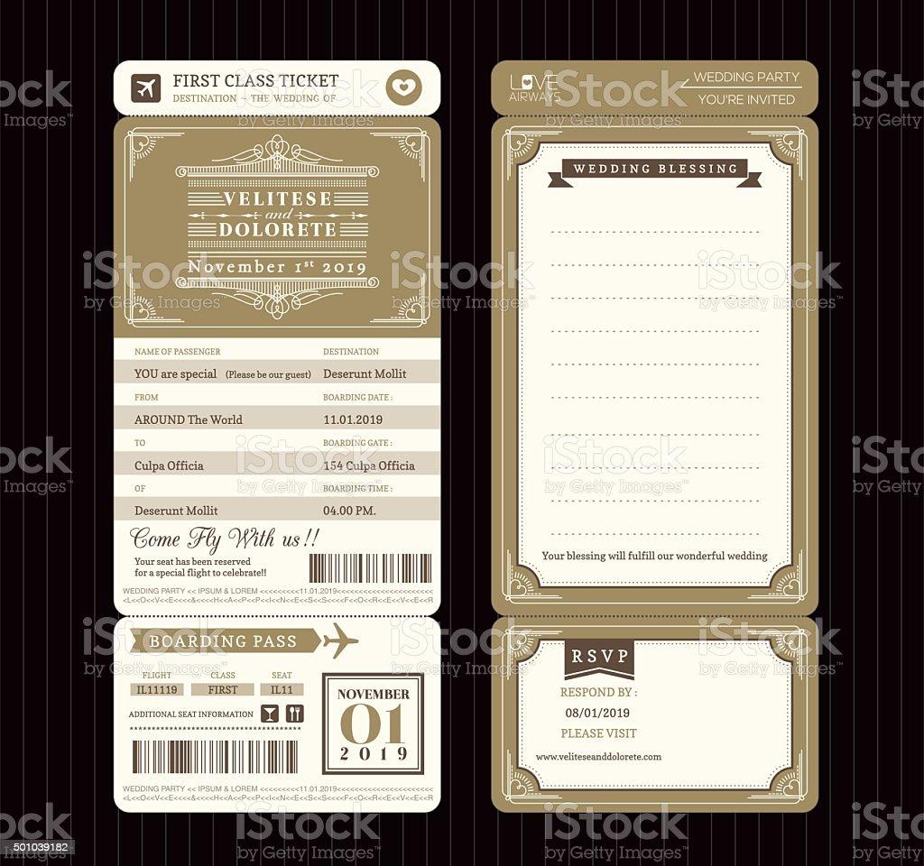 Vintage-Stil-Bordkarte Ticket Hochzeit Einladung Vorlage Vektor - – Vektorgrafik