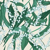 Lily Of The Valley botanical floral design seamless pattern. There are stems with flowers and leaves in a scattered style. They are drawn in vintage engraving style.