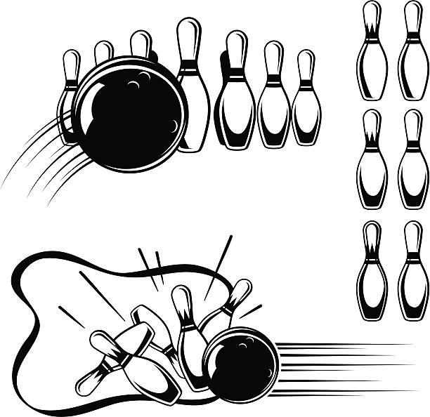 Vintage Style Bowling Clip Art vector art illustration