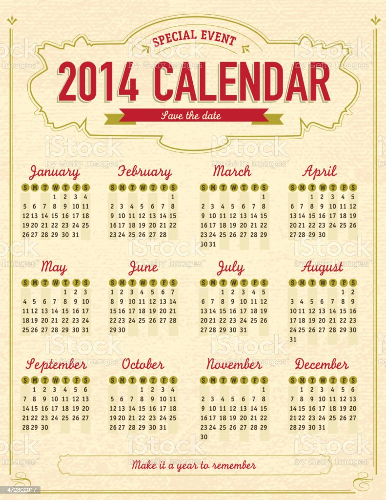Vintage style calendar template with textured background vector art illustration