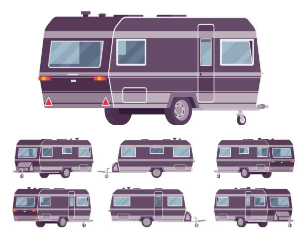 RV vintage style camper, travel trailer for outdoor adventures RV vintage style camper, travel trailer for outdoor adventures. Functional vacation van, camping experience and caravanning family lifestyle. Vector flat style cartoon illustration, different views rv interior illustrations stock illustrations