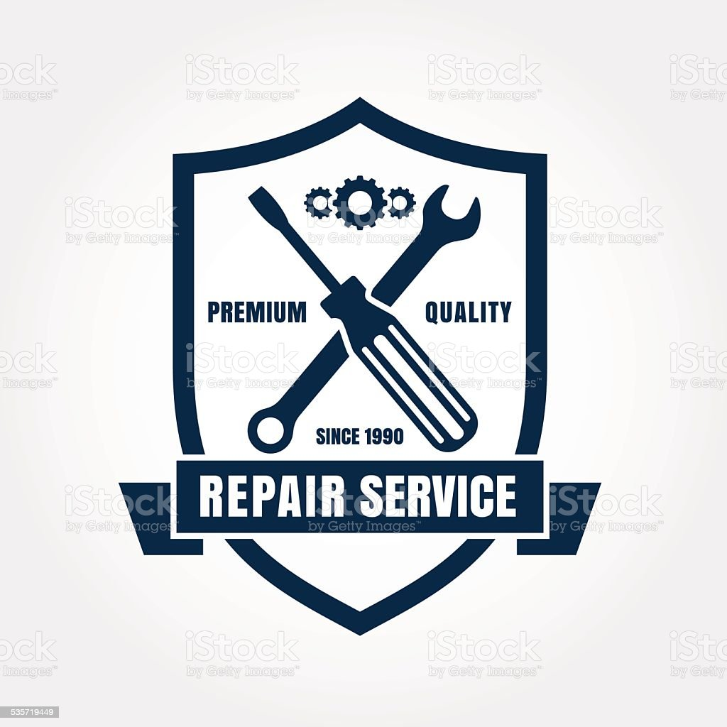 Vintage style car repair service shield label. Vector logo design. vector art illustration