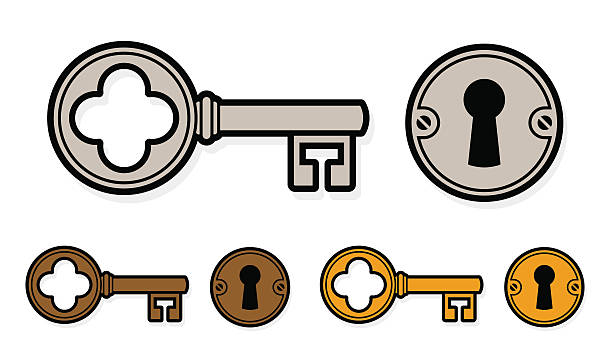 vintage style cartoon key set with lock - schlüsselkasten stock-grafiken, -clipart, -cartoons und -symbole