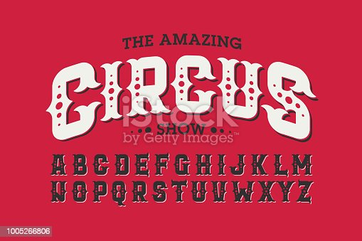Vintage style circus font, vector illustration
