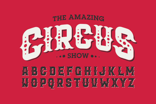 Vintage style circus font vector art illustration